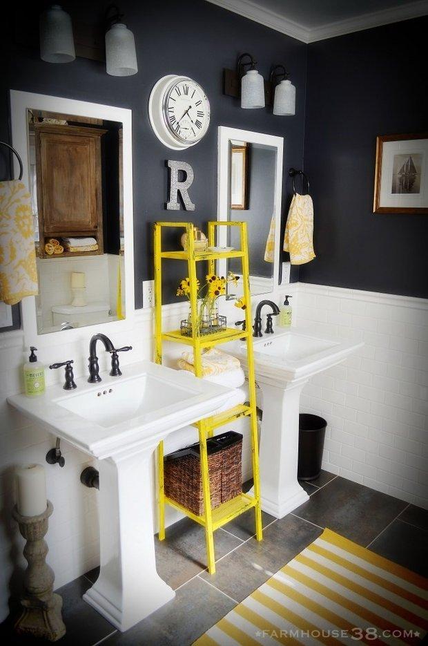 Фотография: Ванная в стиле Лофт, Декор интерьера, Дизайн интерьера, Цвет в интерьере, Желтый – фото на InMyRoom.ru