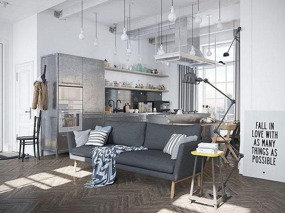 Фотография: Кухня и столовая в стиле Лофт, Советы, как зонировать студию, Марина Лаптева – фото на INMYROOM
