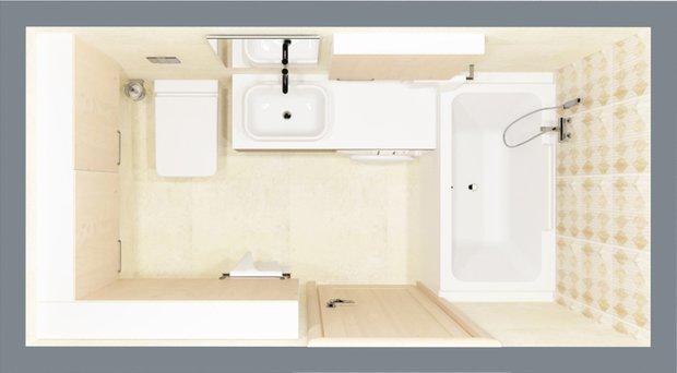 Фотография:  в стиле , Ванная, 8, Перепланировка, планировка санузла, санузел в двухкомнатной квартире дома серии 83, перепланировка маленького санузла, планировка для маленького санузла – фото на INMYROOM