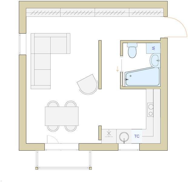 Фотография: Планировки в стиле , Малогабаритная квартира, Перепланировка, Светлана Гусарова, однушка в доме серии 1-511, идеи обустройства однушки, дизайн угловой однушки, перепланировка угловой однушки, планировка угловой однокомнатной квартиры – фото на INMYROOM