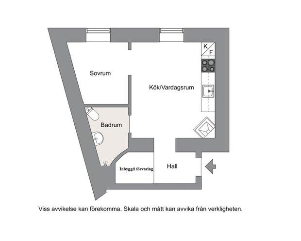 Фотография: Планировки в стиле , Малогабаритная квартира, Квартира, Швеция, Советы, Стокгольм, 1 комната, до 40 метров – фото на INMYROOM