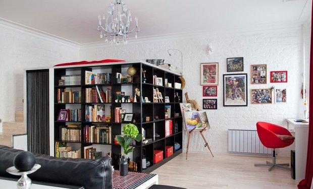 Фотография: Гостиная в стиле Современный, Спальня, Малогабаритная квартира, Квартира, Дома и квартиры, Перепланировка – фото на INMYROOM