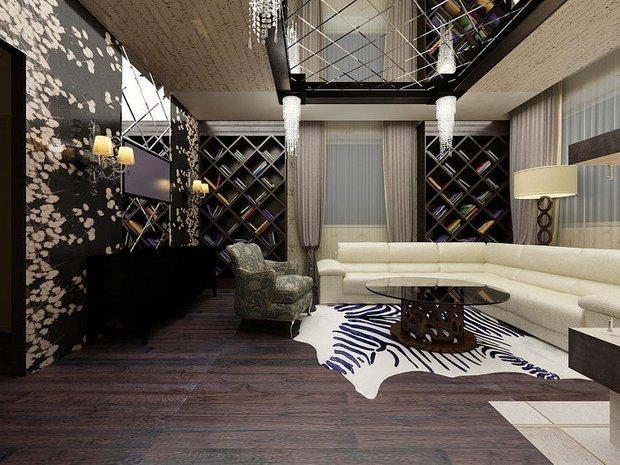Фотография: Гостиная в стиле Современный, Интерьер комнат, Картины, Зеркало – фото на INMYROOM