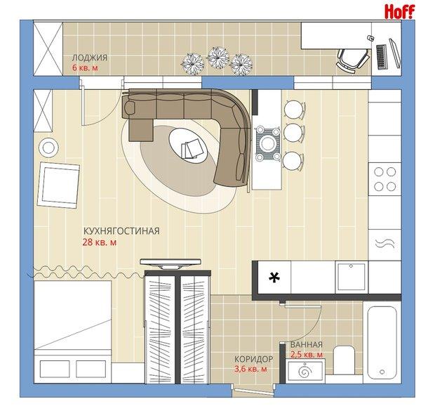 Фотография:  в стиле , Квартира, Планировки, HOFF, Перепланировка, HOFF, Анастасия Киселева, Блочный дом, 1 комната, до 40 метров – фото на INMYROOM