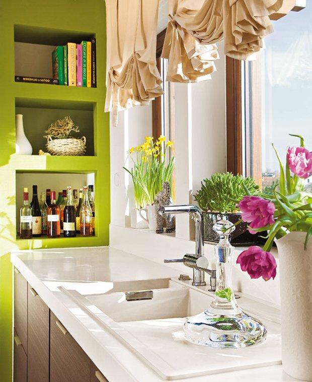 Фотография: Кухня и столовая в стиле Современный, Декор интерьера, Квартира, Декор, Советы, Подоконник, Окно – фото на INMYROOM