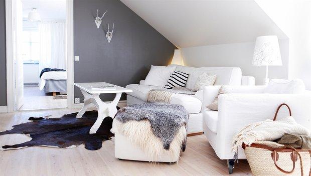 Фотография: Гостиная в стиле Скандинавский, Декор интерьера, Декор дома, Цвет в интерьере, Белый, Эко – фото на INMYROOM