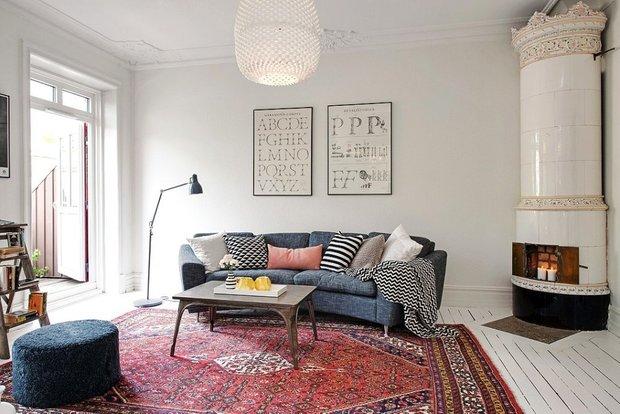 Фотография: Гостиная в стиле Скандинавский, Декор интерьера, ковер в интерьере – фото на INMYROOM