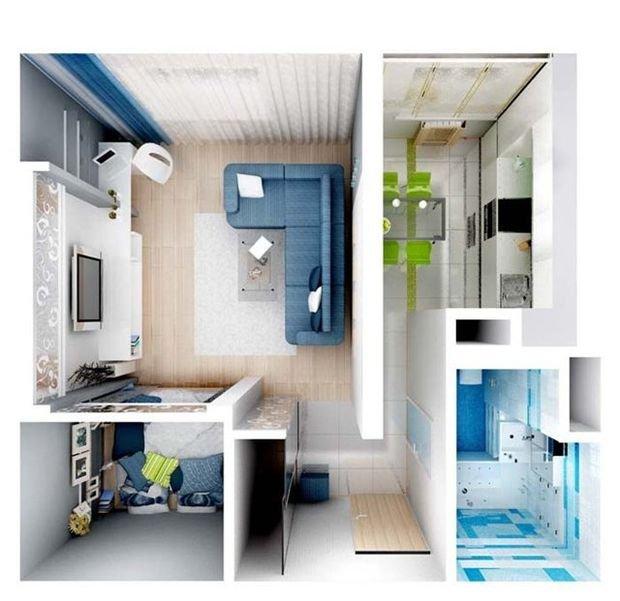 Фотография: Планировки в стиле , Декор интерьера, Малогабаритная квартира, Квартира, Студия – фото на INMYROOM
