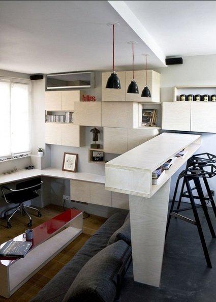 Фотография: Офис в стиле Современный, Малогабаритная квартира, Квартира, Дома и квартиры, Мебель-трансформер – фото на INMYROOM