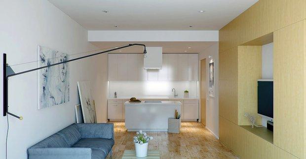 Фотография: Гостиная в стиле Современный, Малогабаритная квартира, Квартира, Россия, Дома и квартиры, Нью-Йорк, Париж, Мебель-трансформер – фото на INMYROOM