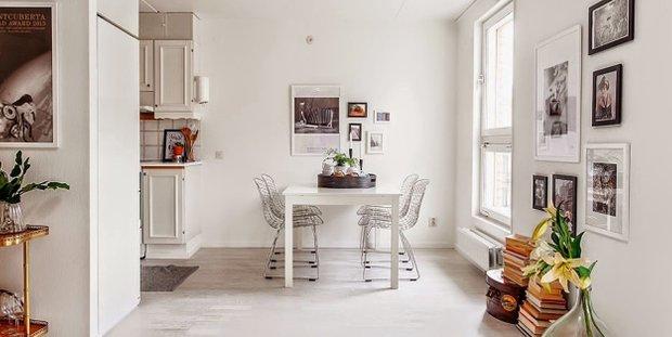 Фотография: Кухня и столовая в стиле Скандинавский, Малогабаритная квартира, Квартира, Дома и квартиры, Ретро – фото на INMYROOM