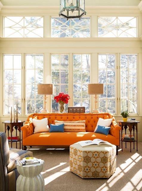 Фотография: Гостиная в стиле Классический, Современный, Восточный, Эклектика, Декор интерьера, Дизайн интерьера, Цвет в интерьере, Оранжевый – фото на INMYROOM