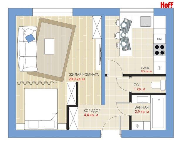 Фотография:  в стиле , Квартира, HOFF, Перепланировка, HOFF, Анастасия Киселева, П-55, Панельный дом, 1 комната, до 40 метров – фото на INMYROOM