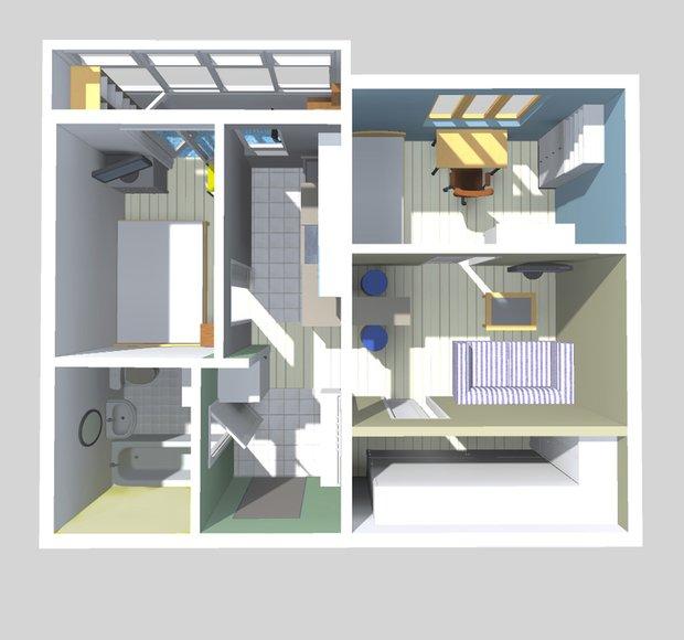 Фотография: Спальня в стиле Современный, Малогабаритная квартира, Квартира, Планировки, Перепланировка, П-43, Панельный дом, 1 комната, до 40 метров – фото на INMYROOM