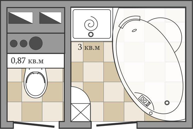 Фотография: Кухня и столовая в стиле Лофт, Ванная, Перепланировка, ИП-46с, Анастасия Киселева – фото на INMYROOM