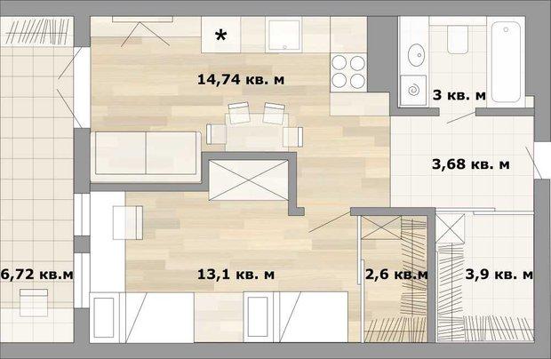 Фотография:  в стиле , Малогабаритная квартира, Перепланировка, как из однушки сделать двушку, дизайн однокомнатной квартиры, дом серии II-67, как обустроить однушку для семьи с двумя детьми, варианты планировки пространства в однокомнатной квартире, идеи для владельцев однушек, варианты планировки однокомнатной квартиры в II-67, II-67 – фото на INMYROOM