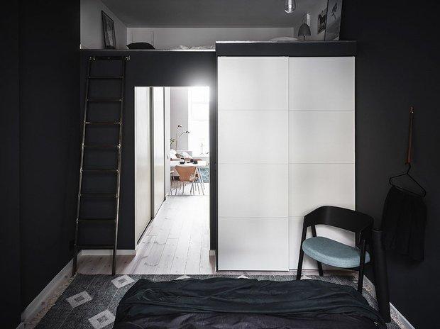 Фотография: Спальня в стиле Скандинавский, Современный, Квартира, Швеция, Советы, Белый, Черный, Стокгольм, 2 комнаты, 40-60 метров – фото на INMYROOM