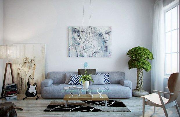 Фотография: Гостиная в стиле Лофт, Декор интерьера, Дизайн интерьера, Цвет в интерьере, Белый, Синий, Серый – фото на INMYROOM