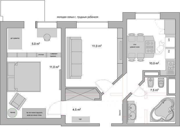 Фотография:  в стиле , Планировки, Перепланировка, перепланировка двухкомнатной квартиры, перепланировка двушки, Дом сериии П-44Т, как обустроить двухкомнатную квартиру, дизайн двухкомнатной квартиры в панельном доме, двухкомнатная квартира в панельном доме, Викторина Смельницкая, Ольга Карякина, Architec, П44т – фото на InMyRoom.ru