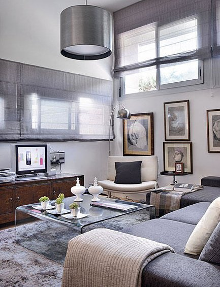 Фотография: Гостиная в стиле Современный, Декор интерьера, Малогабаритная квартира, Квартира, Дома и квартиры, Пол, Индустриальный – фото на INMYROOM