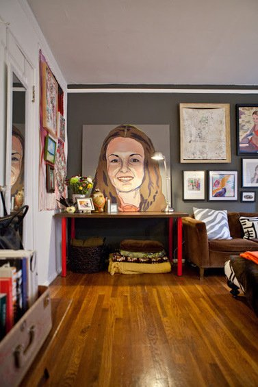 Фотография: Гостиная в стиле Эклектика, Декор интерьера, Квартира, Дома и квартиры, Стены, Картины, Современное искусство – фото на INMYROOM