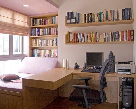 Фотография: Спальня в стиле Современный, Кабинет, Интерьер комнат, Системы хранения – фото на INMYROOM