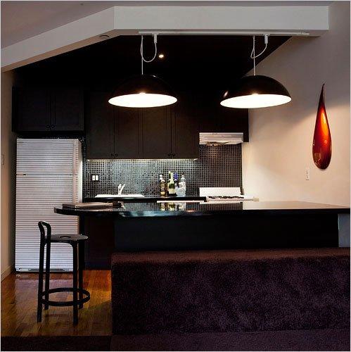 Фотография: Кухня и столовая в стиле Современный, Малогабаритная квартира, Дизайн интерьера, Нью-Йорк, Диван, Декоративные панели – фото на INMYROOM