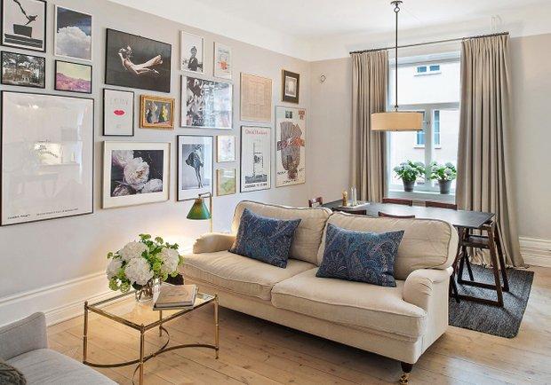 Фотография: Гостиная в стиле Скандинавский, Малогабаритная квартира, Квартира, Швеция, Дома и квартиры – фото на INMYROOM