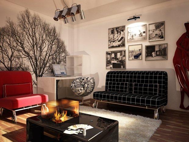 Фотография: Гостиная в стиле Современный, Эклектика, Малогабаритная квартира, Квартира, Дома и квартиры, IKEA, Ремонт, П-111М – фото на INMYROOM