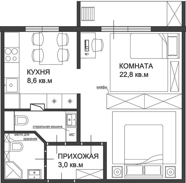 Фотография:  в стиле , Малогабаритная квартира, Советы, Перепланировка, перепланировка однушки в санкт-петербурге, как зонировать однушку, Диана Мальцева, перепланировка однушки, дом серии П46, планировка однокомнатной квартиры в доме серии П46, как обустроить в однушке спальню и детскую, П-46 – фото на INMYROOM