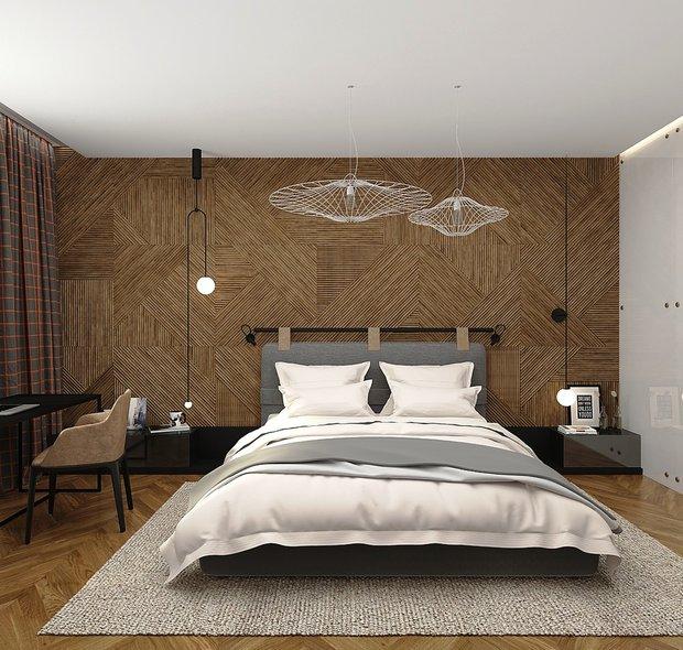 Фотография: Спальня в стиле Современный, Квартира, Проект недели, Москва, Виктория Золина, 2 комнаты, 60-90 метров, Монолитно-кирпичный – фото на INMYROOM