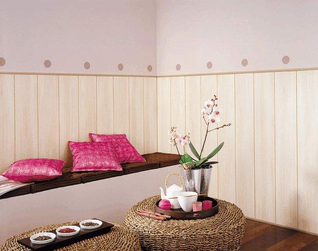 Фотография: Гостиная в стиле Восточный, Обои, Переделка, Плитка, Краска, Стеновые панели – фото на INMYROOM