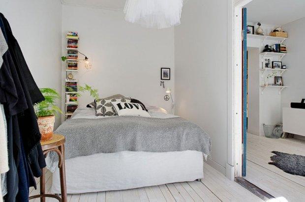 Фотография: Спальня в стиле Скандинавский, Прованс и Кантри, Малогабаритная квартира, Квартира, Дома и квартиры, Стокгольм – фото на INMYROOM