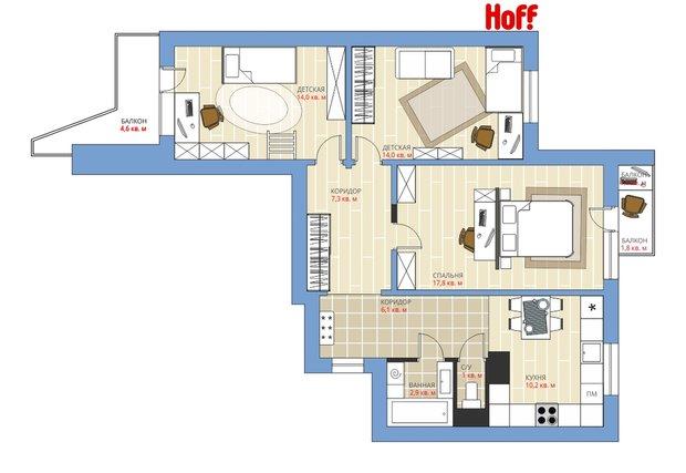 Фотография:  в стиле , Квартира, HOFF, Перепланировка, HOFF, Анастасия Киселева, Панельный дом, П-3, 3 комнаты, 60-90 метров – фото на INMYROOM