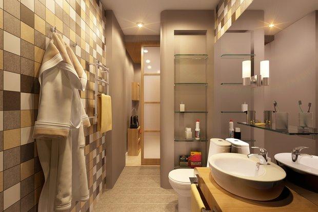 Фотография: Ванная в стиле Современный, Хай-тек, Малогабаритная квартира, Квартира, Стиль жизни, Советы – фото на INMYROOM