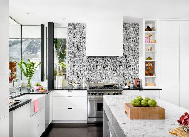 Фотография: Кухня и столовая в стиле Современный, Ремонт на практике, жидкие обои – фото на INMYROOM