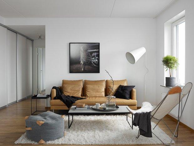 Фотография: Гостиная в стиле Минимализм, Скандинавский, Декор интерьера, Квартира, Аксессуары, Мебель и свет, Белый, Черный – фото на INMYROOM