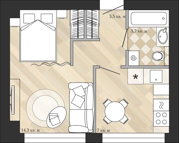 Фотография: Планировки в стиле , Кухня и столовая, Малогабаритная квартира, Перепланировка, Анастасия Киселева, Максим Джураев, дом серии 1МГ-601 – фото на INMYROOM
