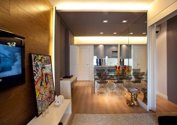 Фотография: Кухня и столовая в стиле Современный, Малогабаритная квартира, Квартира, Дома и квартиры, Бразилия, Сан-Паулу, Перегородки – фото на INMYROOM
