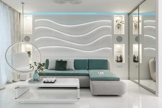 Фотография: Гостиная в стиле Хай-тек, Декор интерьера, Декоративная штукатурка, декор стен, Loggia, микроцемент – фото на INMYROOM