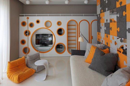Фотография: Гостиная в стиле Хай-тек, Квартира, Дома и квартиры – фото на INMYROOM