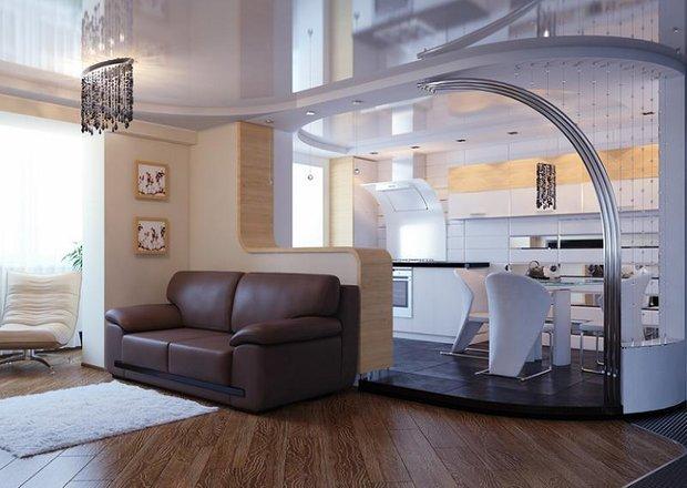Фотография: Гостиная в стиле Современный, Кухня и столовая, Интерьер комнат, Перепланировка, Тема месяца, Барная стойка – фото на INMYROOM