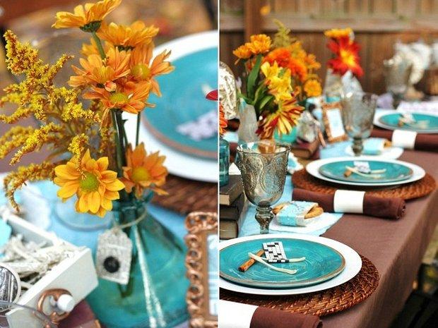 Фотография: Прочее в стиле , Цвет в интерьере, Стол, Сервировка стола, Оранжевый, Бирюзовый – фото на InMyRoom.ru