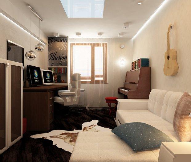 Фотография: Гостиная в стиле Современный, Кабинет, Интерьер комнат – фото на INMYROOM