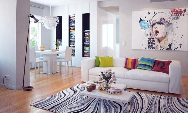 Фотография: Гостиная в стиле Современный, Декор интерьера, Дизайн интерьера, Цвет в интерьере, Белый, Синий, Серый – фото на INMYROOM