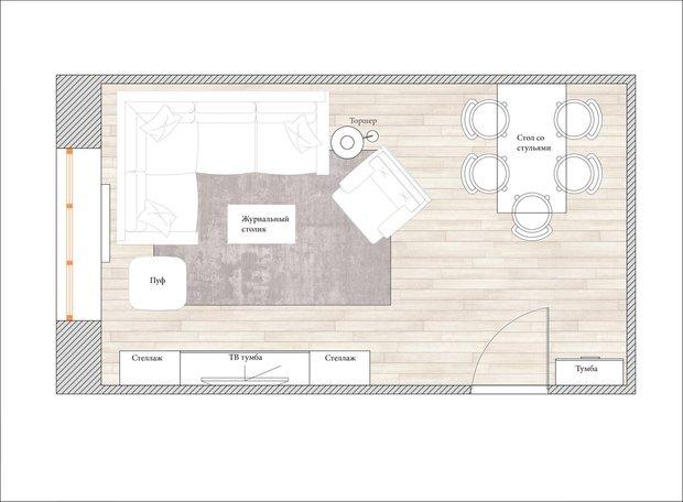 Планировка гостиной в стиле лофт