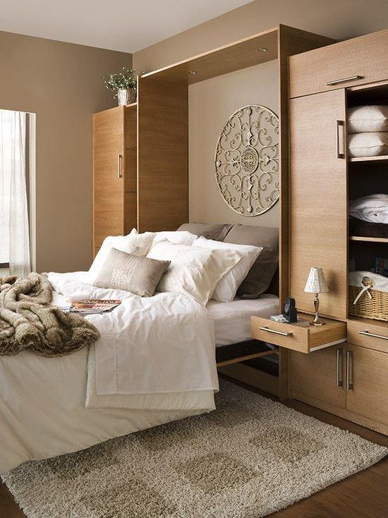 Фотография: Спальня в стиле Современный, Советы, Бежевый, Серый, Мебель-трансформер, кровать-трансформер, диван-кровать – фото на INMYROOM