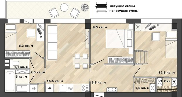 Фотография: Планировки в стиле , Кухня и столовая, Перепланировка, Анастасия Киселева, дом серии 1МГ-601 – фото на INMYROOM