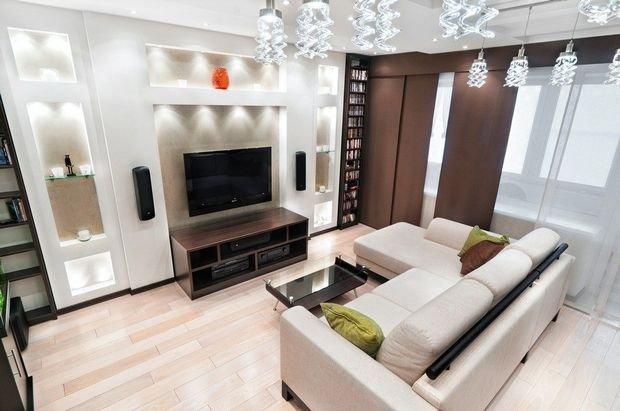 Фотография: Гостиная в стиле Скандинавский, Кухня и столовая, Декор интерьера, Квартира, Студия, Дом, Мебель и свет, угловой диван в интерьере – фото на INMYROOM