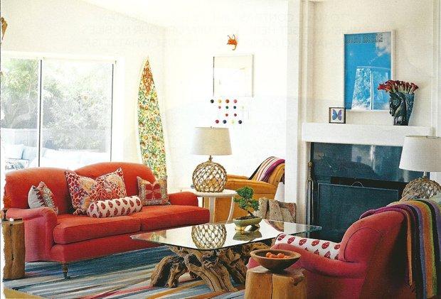 Фотография: Гостиная в стиле , Восточный, Эклектика, Декор интерьера, Декор, Красный, Желтый, Синий, Розовый, Фуксия – фото на INMYROOM